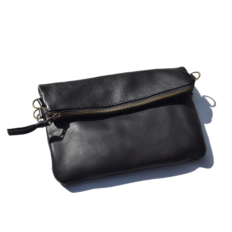 Mini fold over cross-body handbag- black - Mandara bags