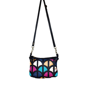 Monica cross-body bag- Black and Colourful leather - Mandara bags
