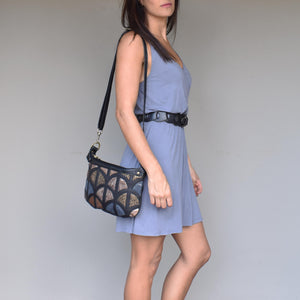 Monica cross-body bag- Black and metallic leather - Mandara bags
