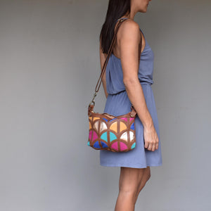 Monica cross-body bag-Tan and turquoise - Mandara bags