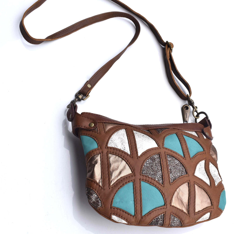 Mandara cross-body bag Monica cross-body bag-Tan and turquoise