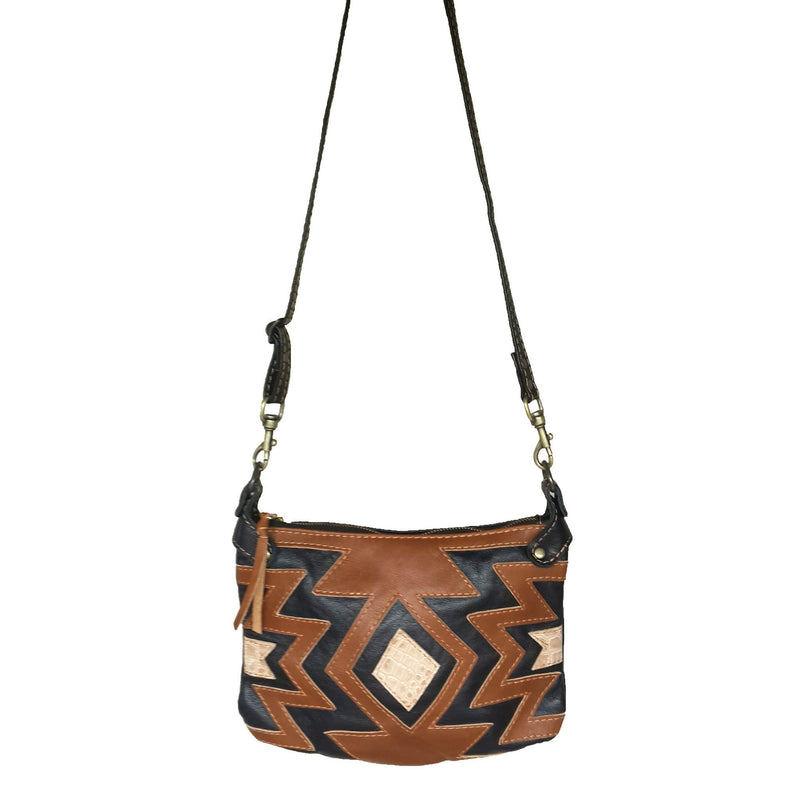 Nandi cross-body handbag- black and brown - Mandara bags