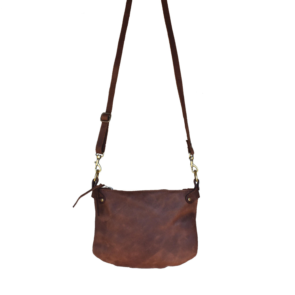Plain cross-body handbag- Diesel brown - Mandara bags