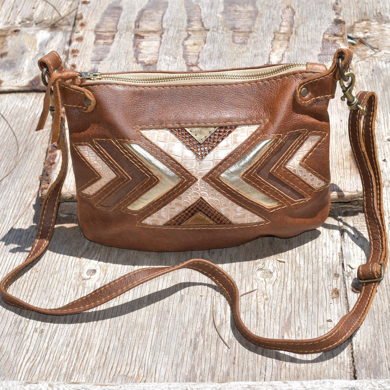 Sienna cross body handbag- brown and metalics - Mandara bags