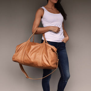 Rio leather duffel bag-camel - Mandara bags