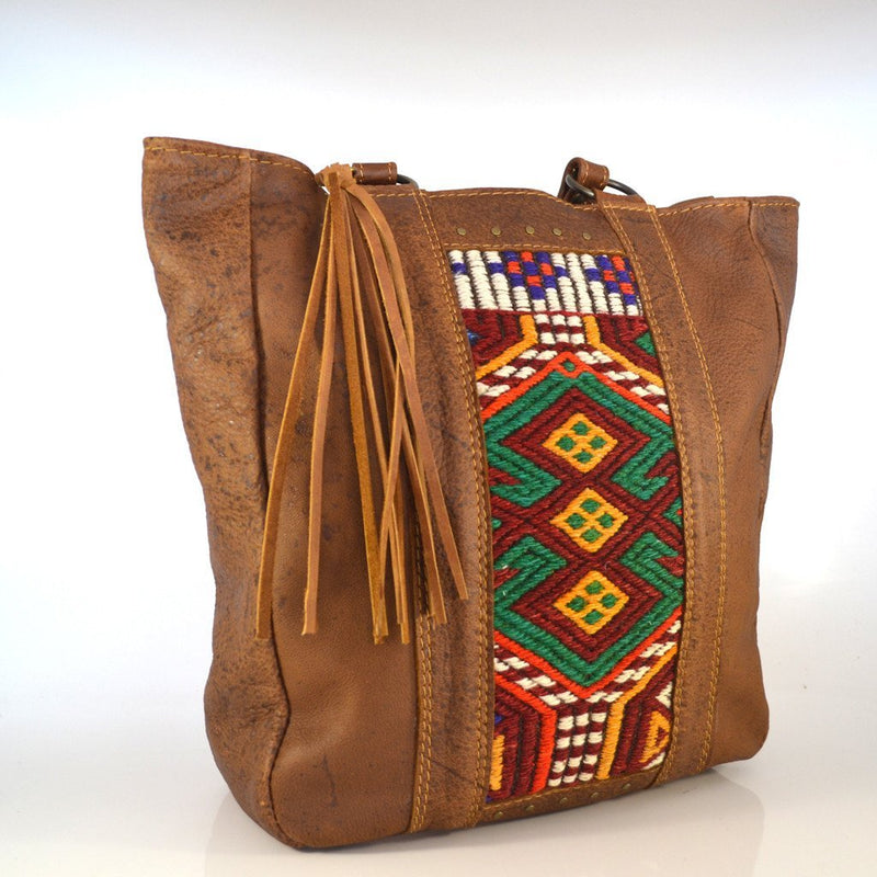 Anatolia leather and kilim tote - Mandara bags