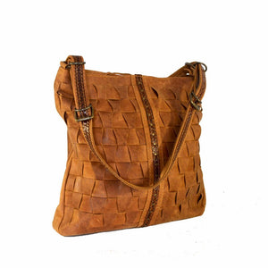 Large woven Bonnie in butternut coloured leather - Mandara bags