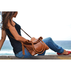 Maria foldover bag- brown - Mandara bags
