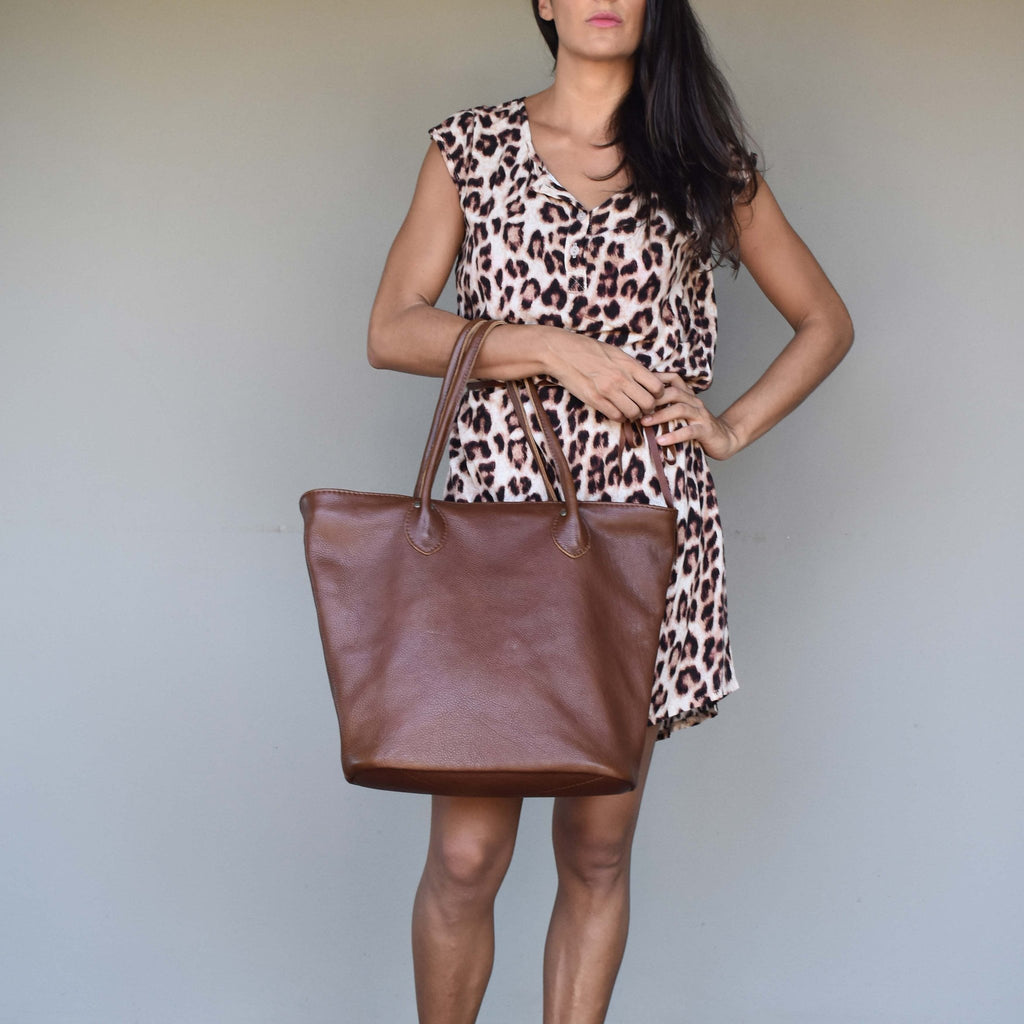 Tan brown Tulip tote - Mandara bags