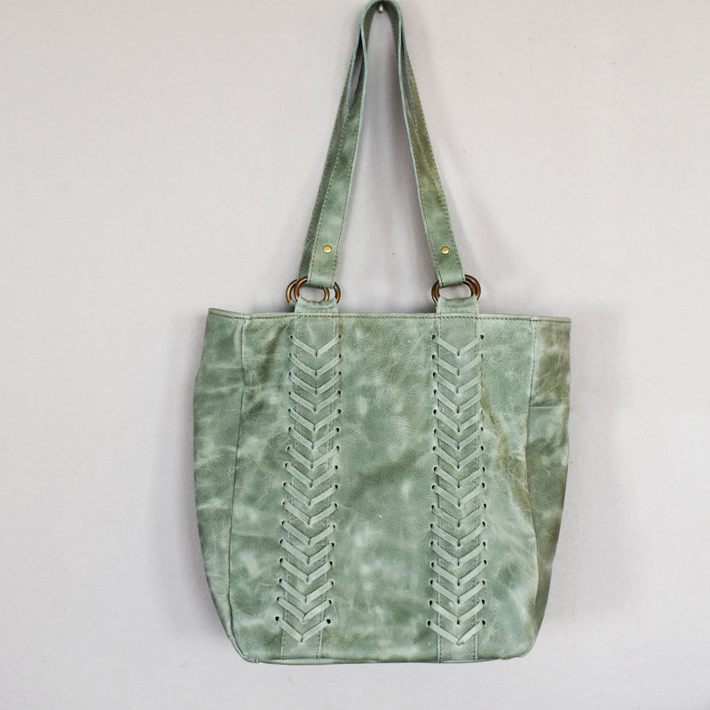 Jozi leather tote- Sage green - Mandara bags