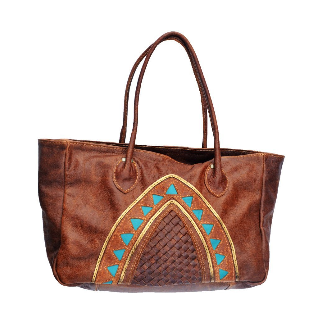 Cleopatra tote-Acorn brown and turquoise - Mandara bags