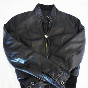 Vintage black leather jacket 001 - Mandara bags