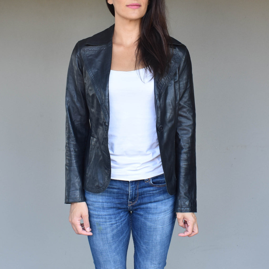 Vintage black leather jacket 002 - Mandara bags