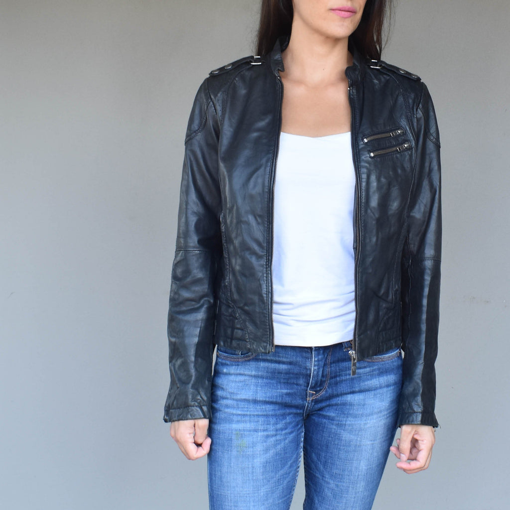 Vintage black leather jacket 003 - Mandara bags