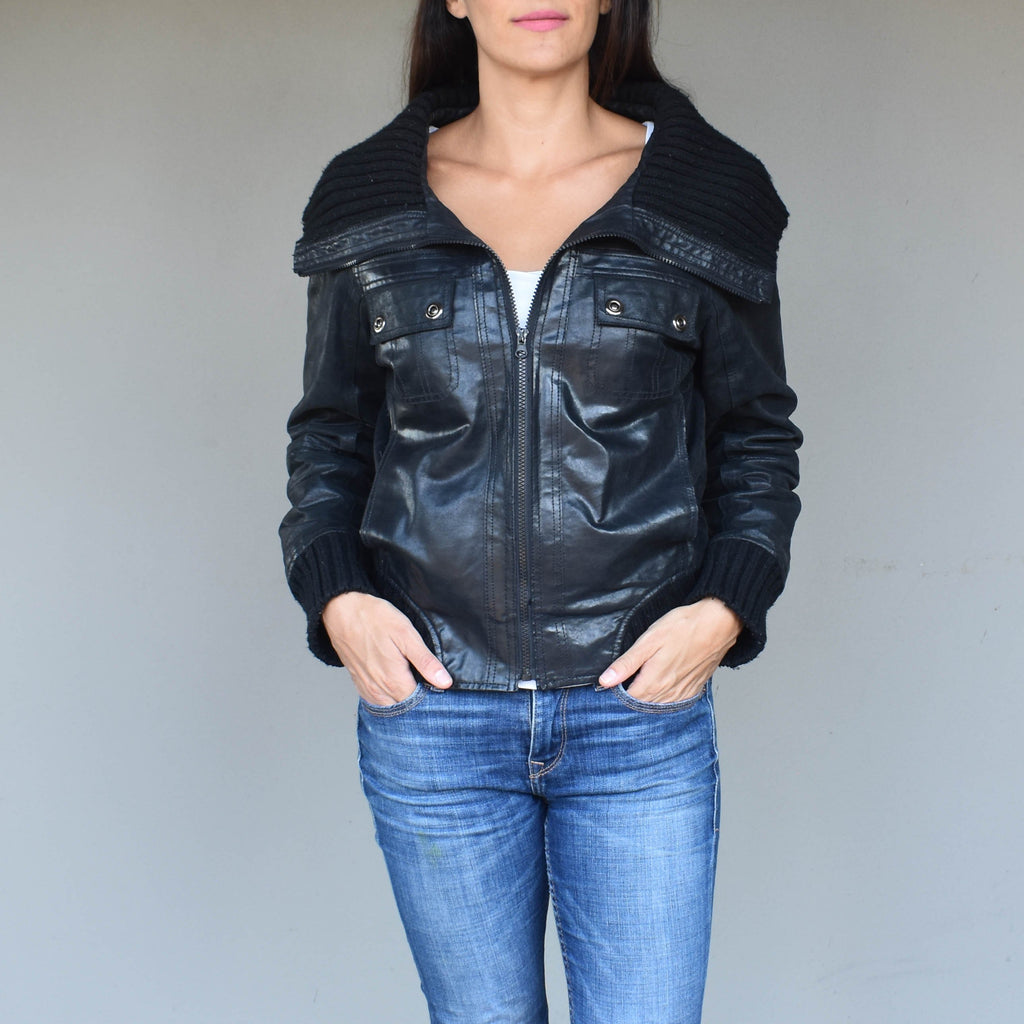 Vintage black leather jacket 006 - Mandara bags