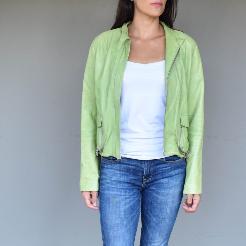 Vintage green leather jacket - Mandara bags