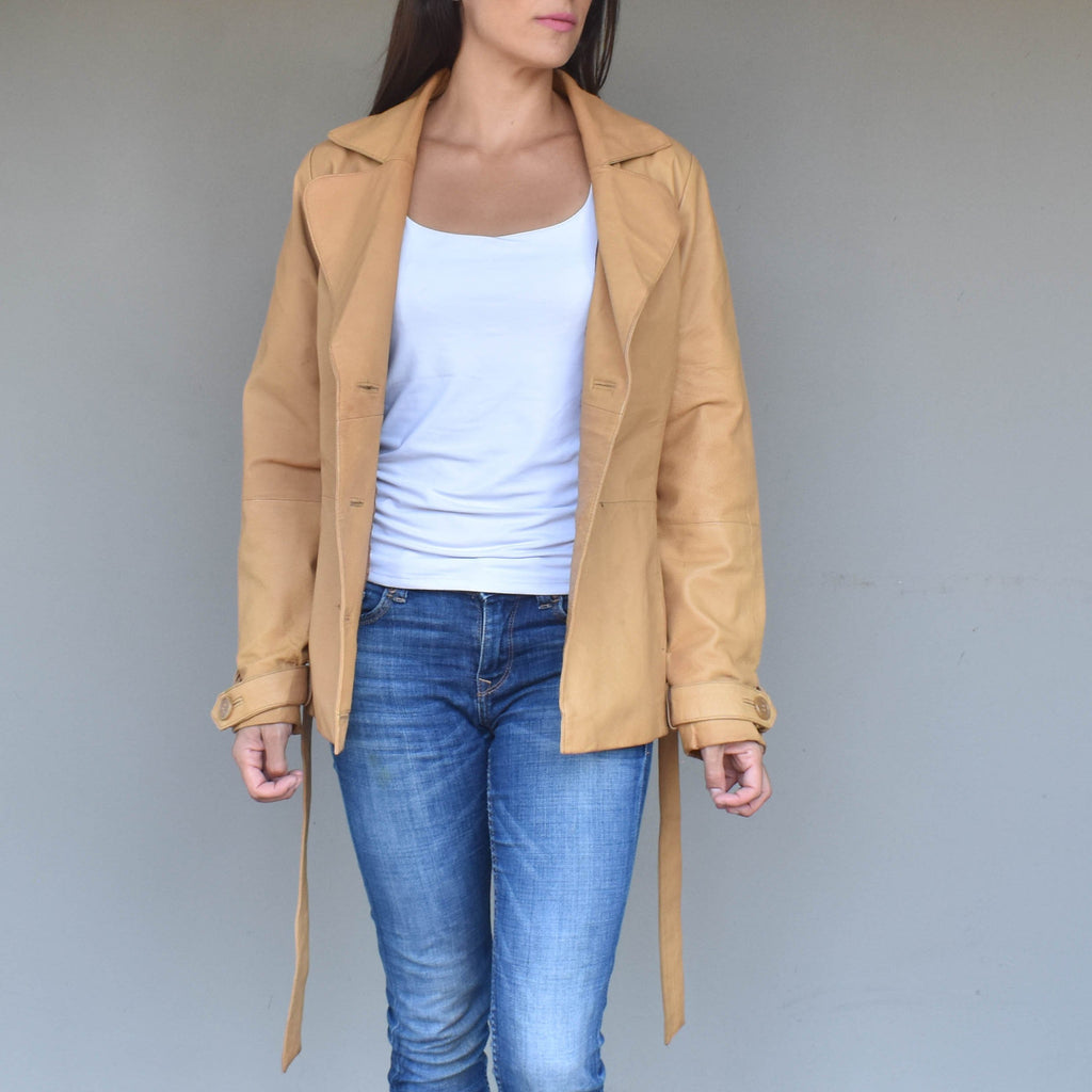 Vintage tan trench coat leather jacket - Mandara bags