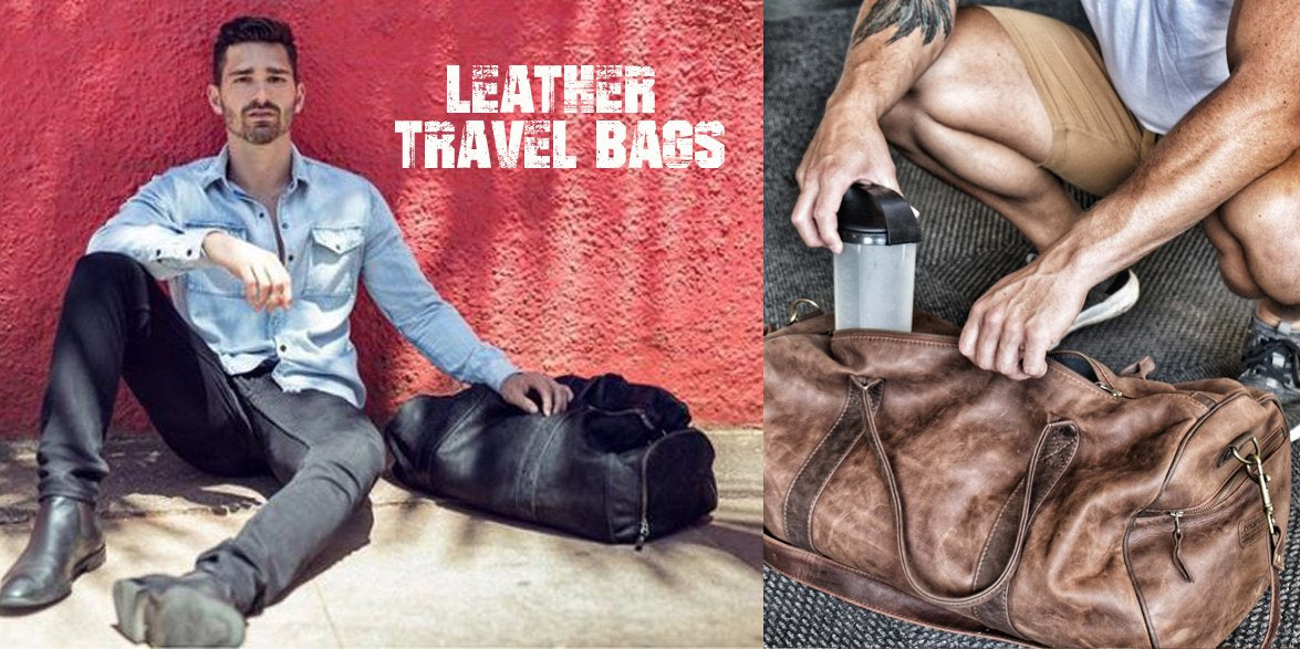 man sitting next to a leather travel bag