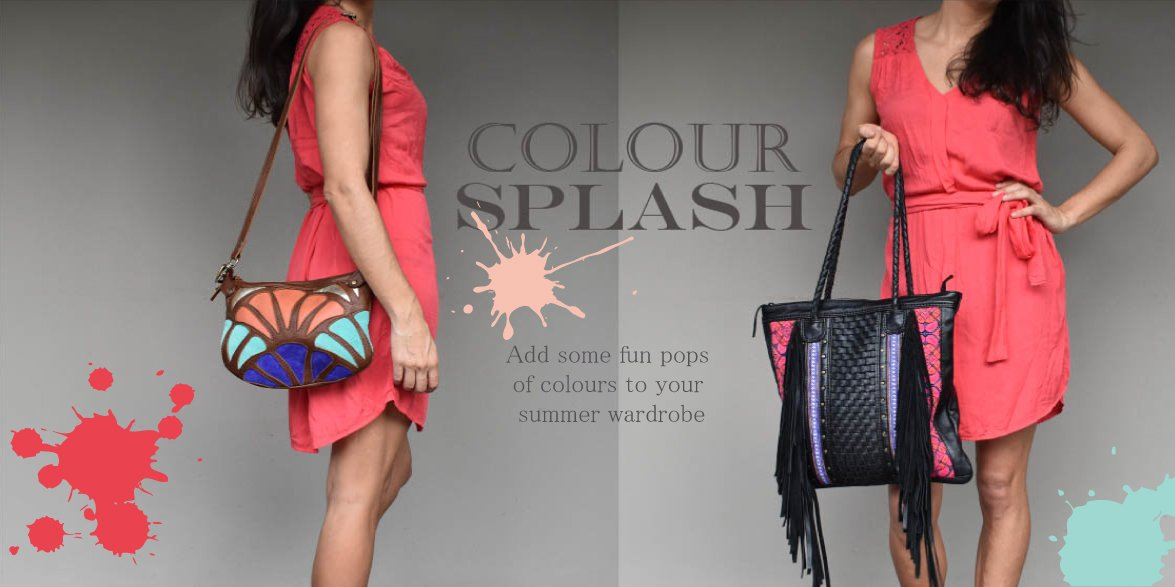 Picture of a lady wearing a colourful leather handbag
