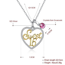 925 Sterling Silver Sweet 16 Pendant + free chain