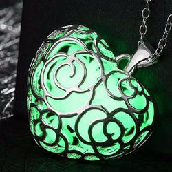 925 Sterling Silver Filled Glow in the dark pendant chunky heart design - Cardina Jewels - 1