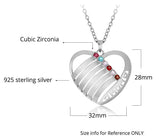 Personalized Solid 925 Sterling Silver Mom design pendant with choice of birthstone - Cardina Jewels - 3
