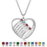 Personalized Solid 925 Sterling Silver Mom design pendant with choice of birthstone - Cardina Jewels - 2