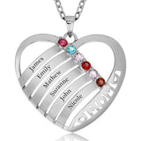 Personalized Solid 925 Sterling Silver Mom design pendant with choice of birthstone - Cardina Jewels - 1
