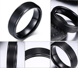 Men's Black Tungsten Carbide Ring with Groove detail - Cardina Jewels - 2