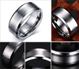 Men's Brushed Silver Design Tungsten Carbide Wedding Ring - Cardina Jewels - 2