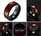 Men's Black Tungsten Carbide Ring with Wood Inlay - Cardina Jewels - 2