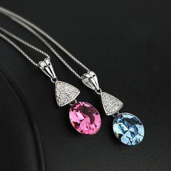 Solid 925 Sterling Silver BlueAustrian Crystal Pendant ( pendant only) - Cardina Jewels