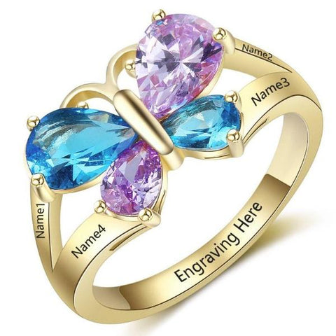 Personalized Butterfly Ring with 18K RGP in yellow gold plus choice of 4 birthstones