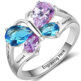 Personalized Butterfly Ring in solid 925 Sterling Silver plus choice of 4 birthstones