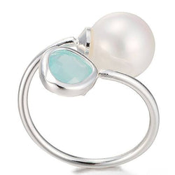 925 Sterling Silver Filled Rustic Ring with Faux Pearl - Cardina Jewels - 1