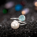 925 Sterling Silver Filled Rustic Ring with Faux Pearl - Cardina Jewels - 3