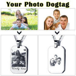 Engraved Stainless Steal Photo Necklace + free chain - Cardina Jewels - 1