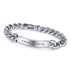 Men's Titanium Steel Bracelet With Free Engraving - Cardina Jewels - 1