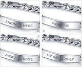 Men's Titanium Steel Bracelet With Free Engraving - Cardina Jewels - 3