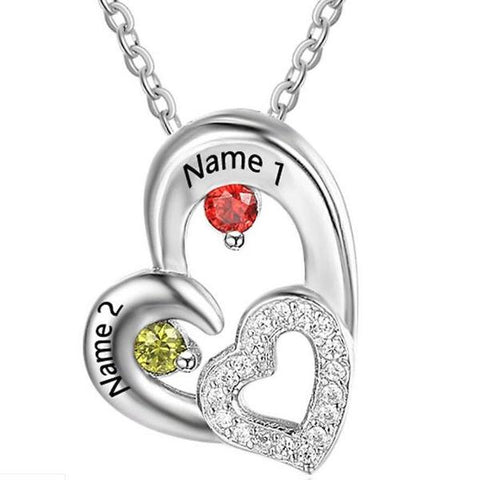 Personalized Name and Birthstone Double Heart Necklace