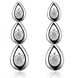 925 Sterling silver filled Ladies layer waterdrop design earrings with crystal detail - Cardina Jewels - 1
