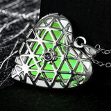 925 Sterling Silver Filled Glow in the dark pendant Heart locket design - Cardina Jewels - 1