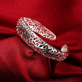 925 Sterling silver filled Filigree cuff bangle - Cardina Jewels - 3