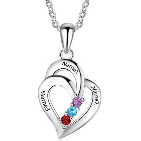 Personalized Name and 3 Birthstone Heart Necklace