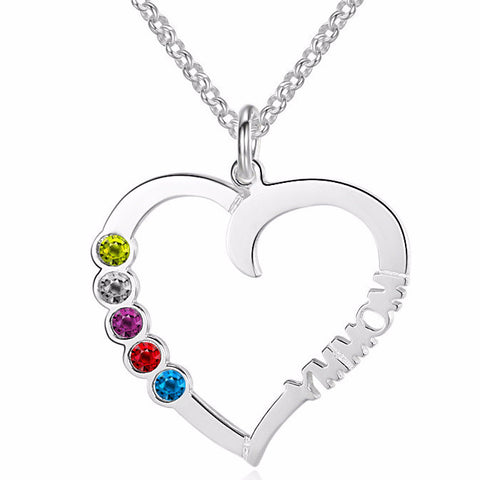 Personalized Name Necklace with 5 Birthstone color choice - Cardina Jewels - 1