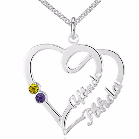 Personalized Name Necklace Weaved Heart Design, 2 names and birthstone choice - Cardina Jewels - 1