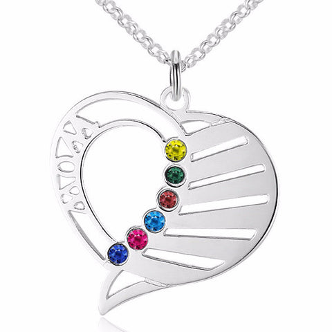 Personalized Name Necklace with up to 6 Names and Birthstones - Cardina Jewels - 1