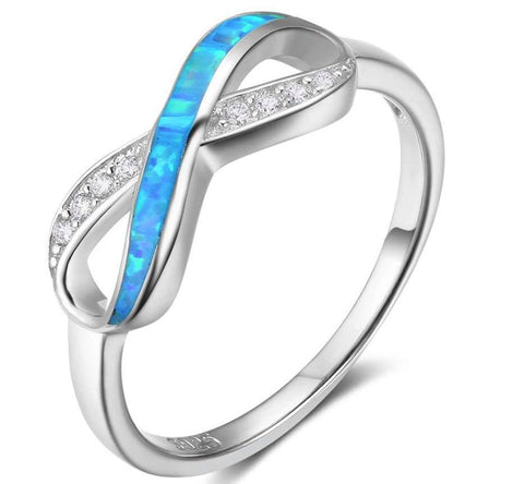 Solid Sterling Silver Opal detail Infinity Ring