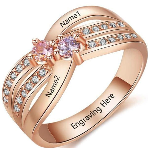 Personalized Ring with 18K RGP in rose gold plus choice of birthstones