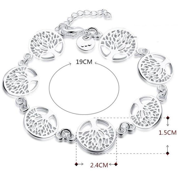 925 Silver Filled Tree of life style Bracelet